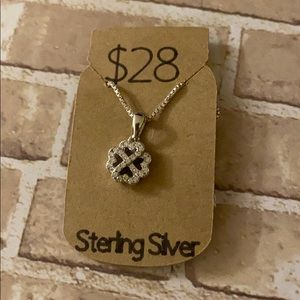 Heart clover sterling silver necklace